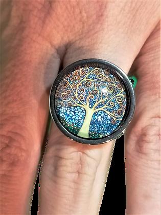 Bague réglable arbre de vie ronde