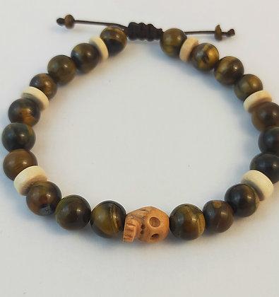 Bracelet ajustable œil de tigre / bois / tête de mort en os de Yak