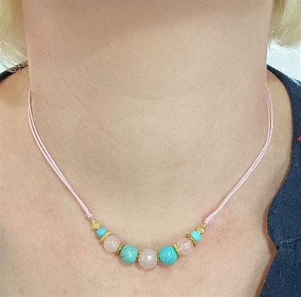 Tour de cou turquoise/quartz rose doré sur cordon rose