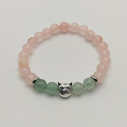 Bracelet enfant quartz rose/aventurine/éléphant