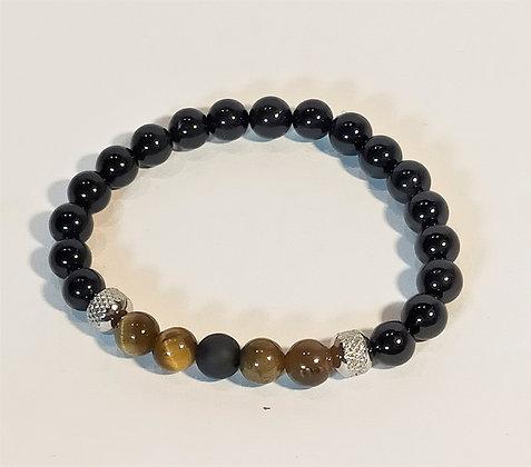 Bracelet tourmaline/agate noire/œil de tigre