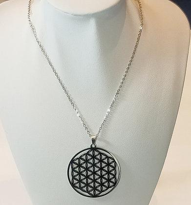 Chaîne/pendentif mandala argenté 3
