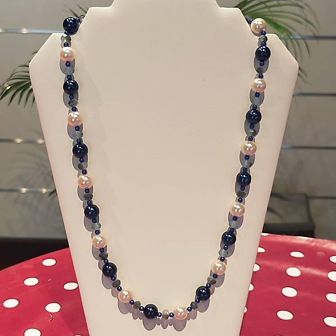 Collier grosses perles bleu&blanc