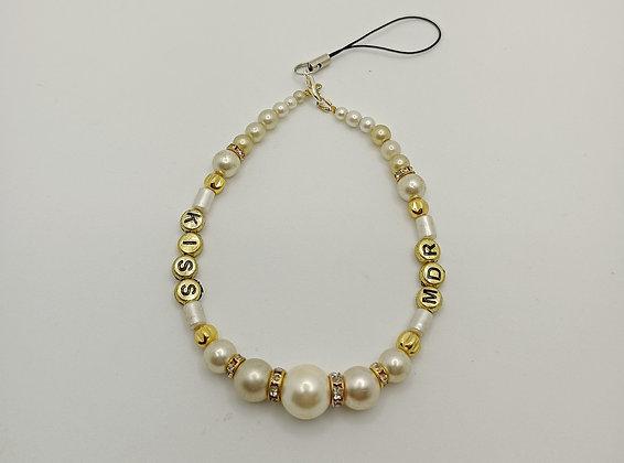 "Bijou de portable perles blanches ""KISS"" ""MDR"""