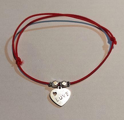 Bracelet élastique argenté/rouge/LOVE