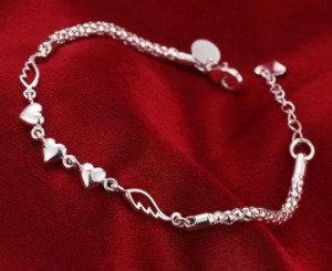 Bracelet en argent 3 cœurs, ailes d'ange