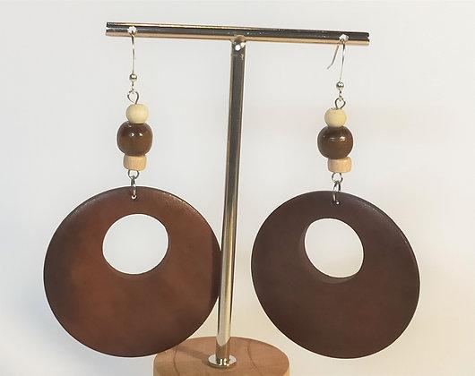 B.O. en bois rondes troués marron/blanc