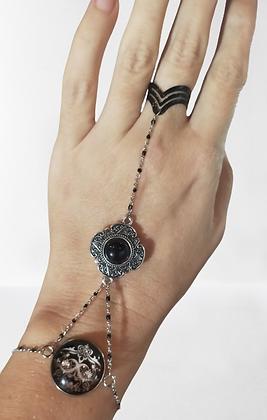 Bracelet-bague argenté bague noire