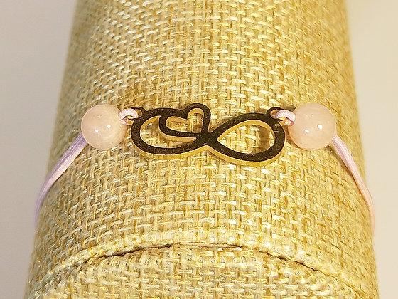 Bracelet élastique doré/rose/quartz rose