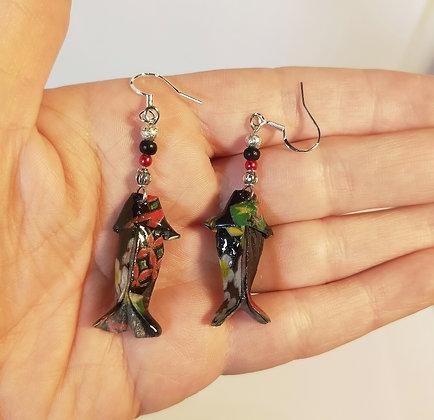 B.O. poisson noir-rouge-vert/argenté