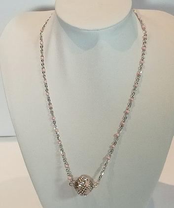 Chaîne argent/rose grosse perle