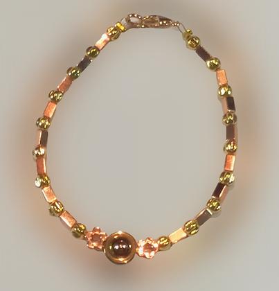 Bracelet hématite doré rose, doré, fleurs