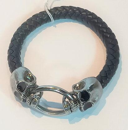 Bracelet cuir noir têtes de mort