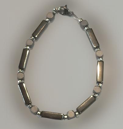 Bracelet hématite, argenté, anthracite