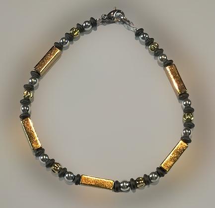 Bracelet hématite, doré, argenté, anthracite