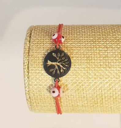 Bracelet élastique argenté arbre de vie/rouge/œil porte bonheur