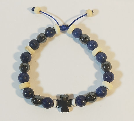 Perles hématite, lapis lazuli, bois naturel, ajustable