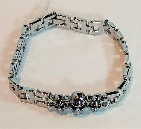 Bracelet argenté tête de mort