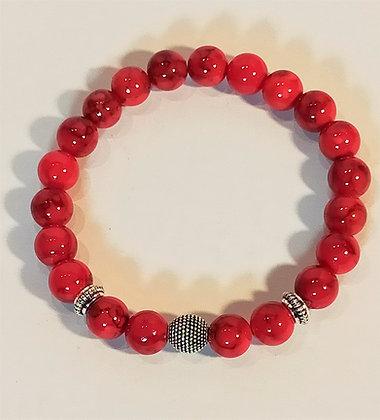Bracelet jade rouge effet marbré