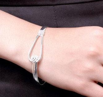 Bracelets simples en argent plaqué rose ouverte