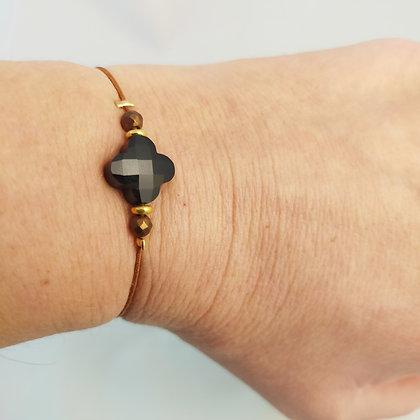 Bracelet élastique marron/doré/trèfle facetté noir
