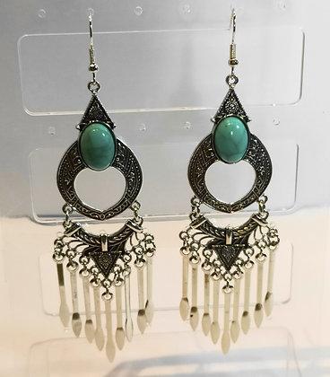 Boucles d'oreilles argenté/turquoise