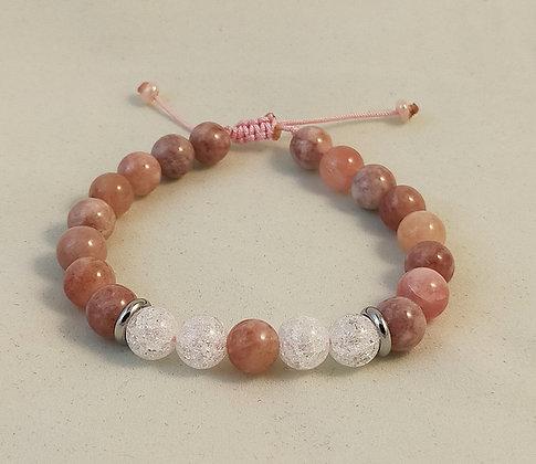 Bracelet ajustable pierre de lune / cristal de roche craquelé