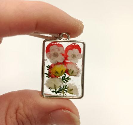Pendentif rectangle fleurs blanches/jaunes/rouge/argenté #12