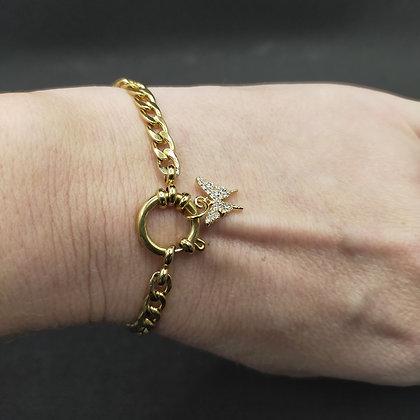 Bracelet grosse chaîne papillon/doré