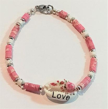 Bracelet P.N. Rose azalée marbre coquillage love