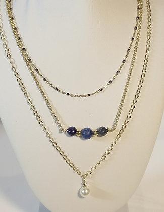 Triple chaîne doré lapis lazuli / perle de culture