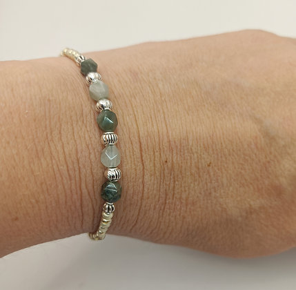 Bracelet jade verte argenté