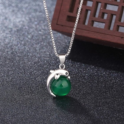 Chaîne/pendentif dauphin en argent/calcédoine verte