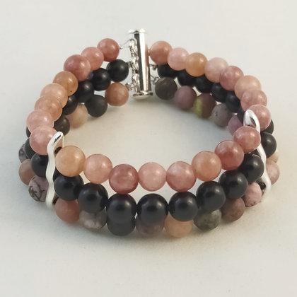 Bracelet triple Rhodonite/Obsidienne/Pierre de lune