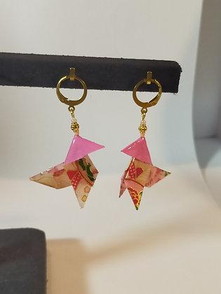 B.O. origami cocotte rose/doré