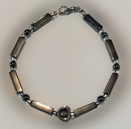 Bracelet hématite cœur, anthracite, argent