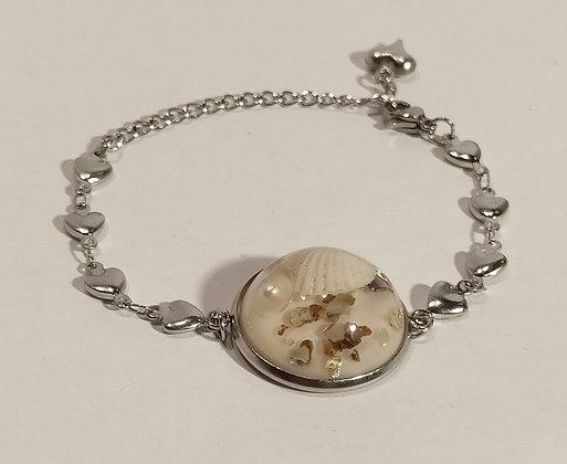 """Bracelet """"souvenir de bord de mer"""" chaîne coeur"""