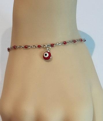 Bracelet argent/rouge œil