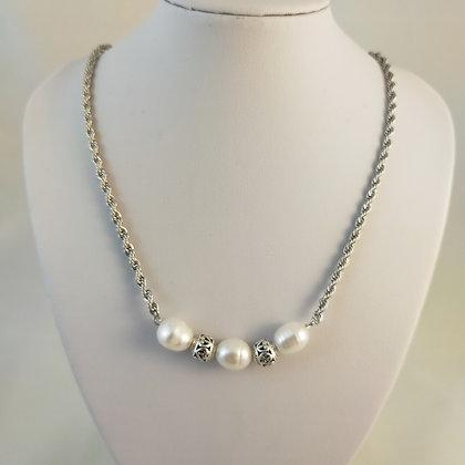 Collier perles de culture d'eau douce/argent