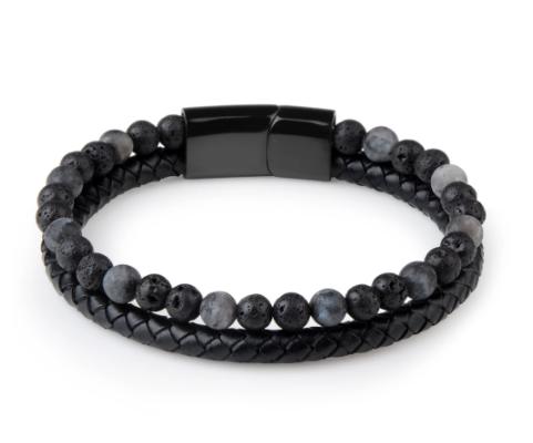 Bracelets en pierre naturelle pour hommes et cuir véritable tressé