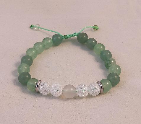 Bracelet ajustable aventurine / cristal de roche craquelé