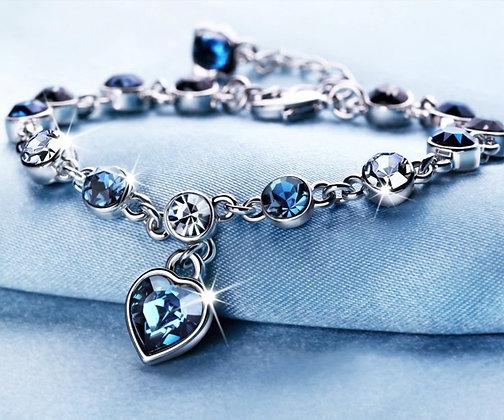 Bracelet cœur bleu saphir en argent