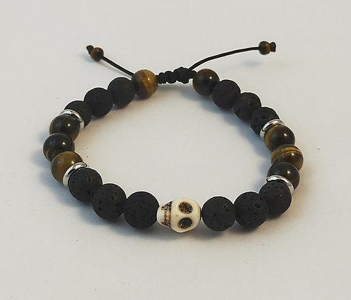 Bracelet ajustable pierre de lave / œil de tigre / tête de mort howlite blanche