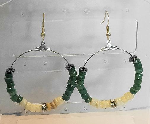 Boucles d'oreilles perles de coquillage vert/blanc