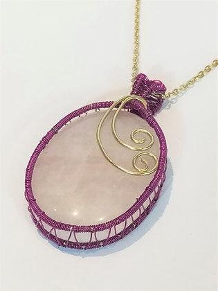 Collier/chaîne quartz rose serti