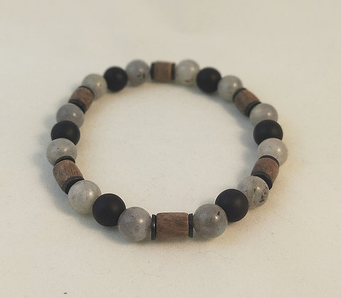 Bracelet bois / labradorite / agate noire