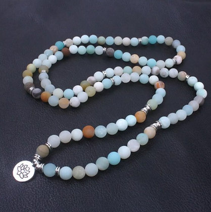 Collier ou bracelet Mala 108 perles en Amazonite et Lotus
