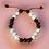 Thumbnail: Perles en bois aubergine + perles naturelle Howlite + doré, ajustable