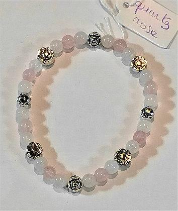 Bracelet enfant quartz rose fleurs