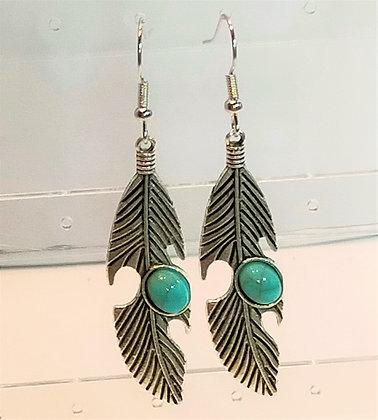 Boucles d'oreilles plume/turquoise